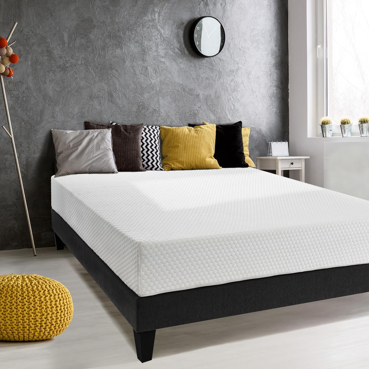 Ensemble matelas+ sommier+pieds Hermes confort - Blanc - 160 x 200 cm