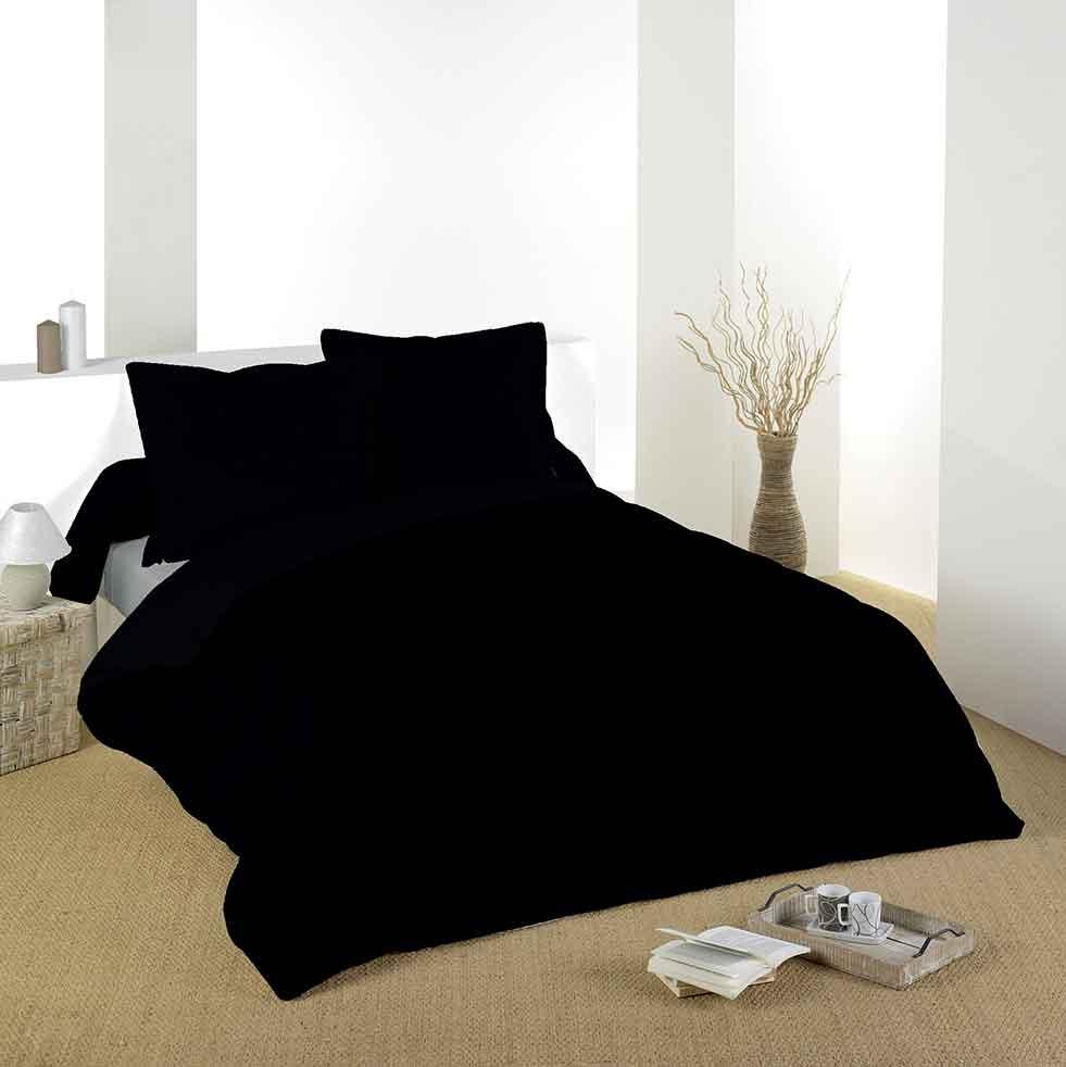 Housse de Couette Unie en Coton - Noir - 240 x 220 cm