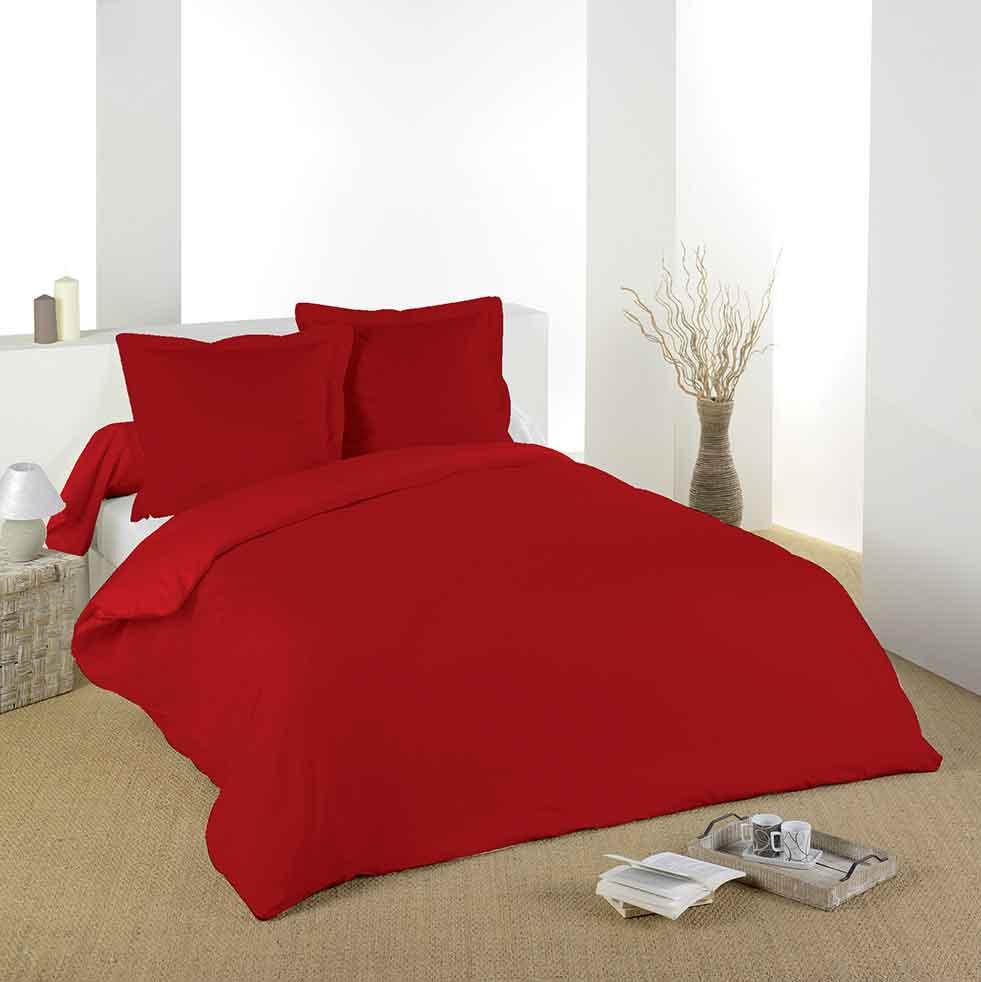 housse de couette unie en coton rouge fuchsia perle anthracite tilleul blanc. Black Bedroom Furniture Sets. Home Design Ideas