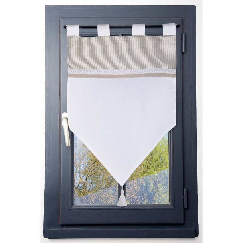 petit vitrage brise bise ray et dentel lin gris homemaison vente en ligne voilages. Black Bedroom Furniture Sets. Home Design Ideas