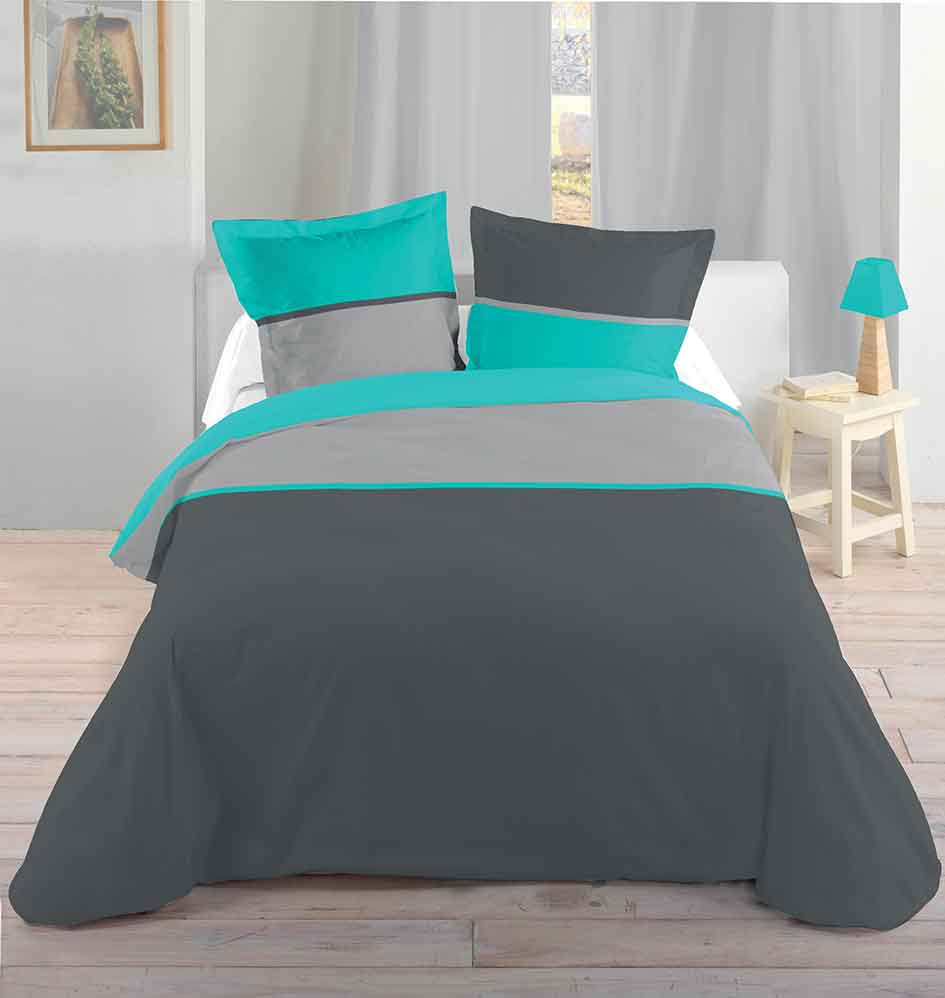 parure de couette ray e bicolore turquoise homemaison vente en ligne parures de lit. Black Bedroom Furniture Sets. Home Design Ideas