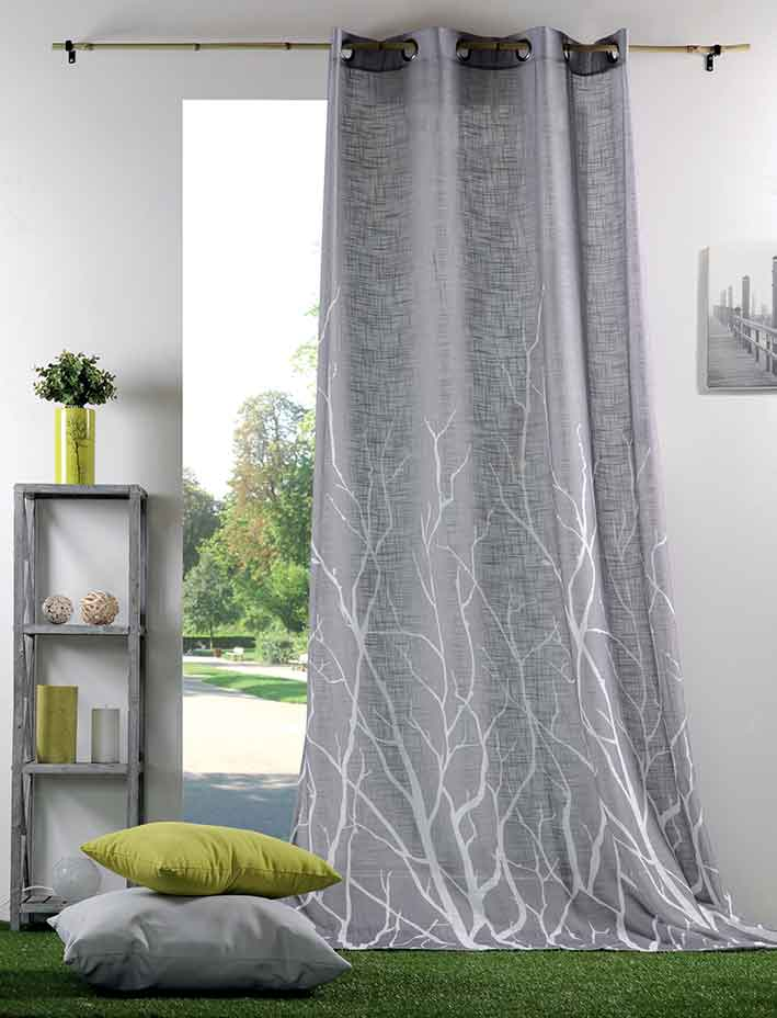 voilage imprim branches gris homemaison vente en. Black Bedroom Furniture Sets. Home Design Ideas