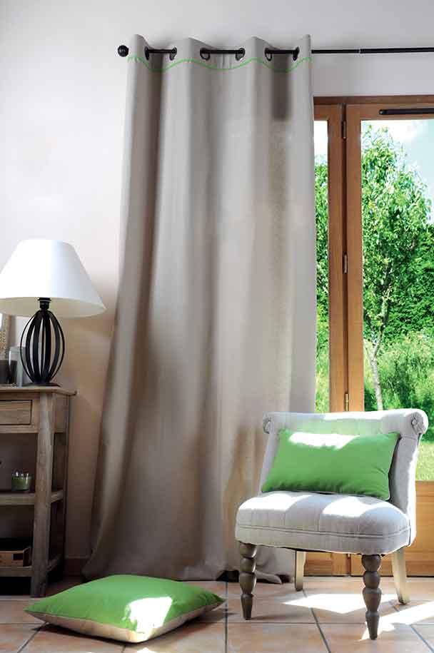 Rideau avec Fine Rayure Horizontale - Lin/Vert - 135 x 250 cm