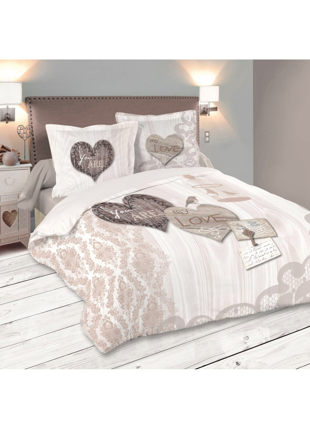 parure de couette you are my love beige homemaison vente en ligne parures de lit. Black Bedroom Furniture Sets. Home Design Ideas