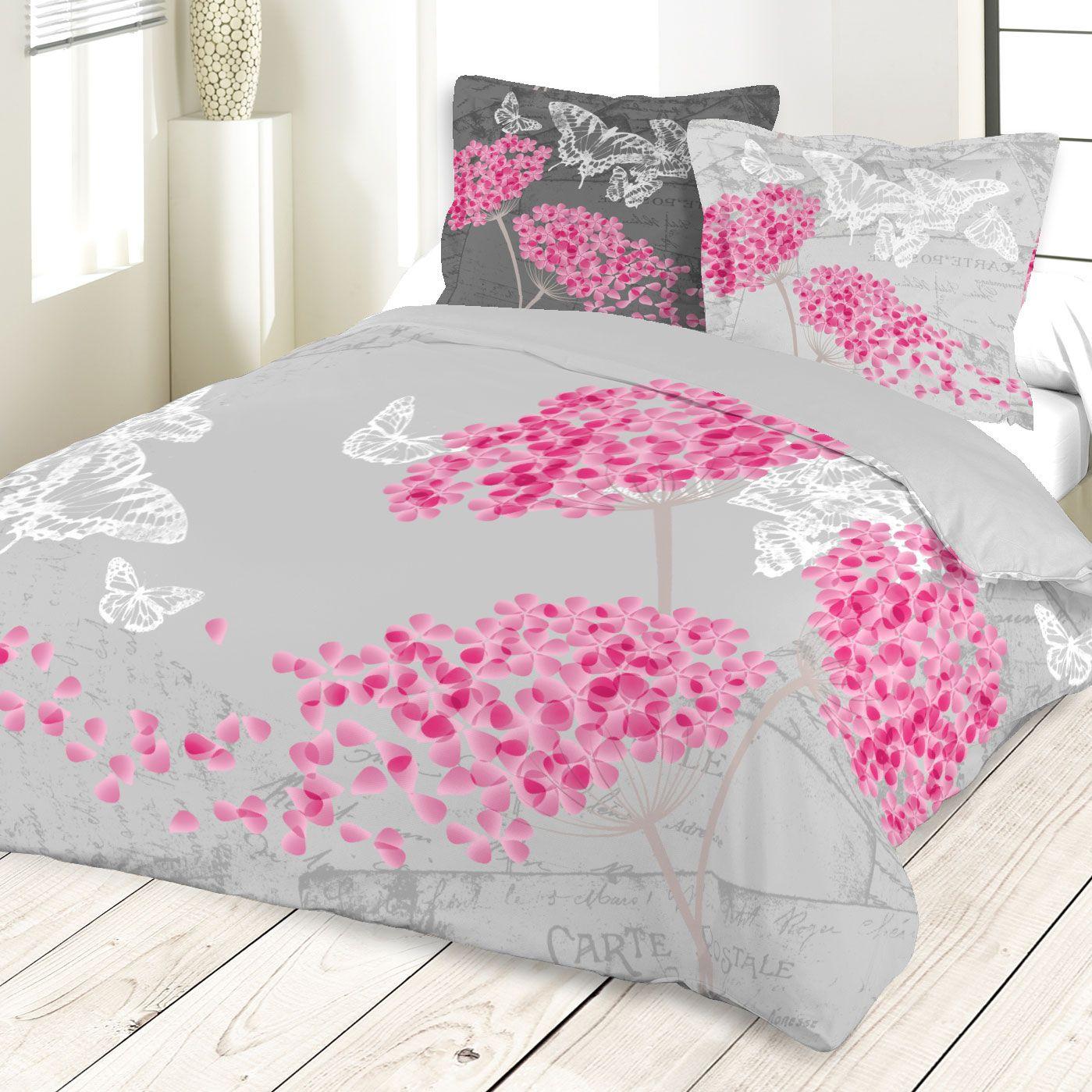 parure de couette p tales et papillons gris homemaison vente en ligne parures de lit. Black Bedroom Furniture Sets. Home Design Ideas