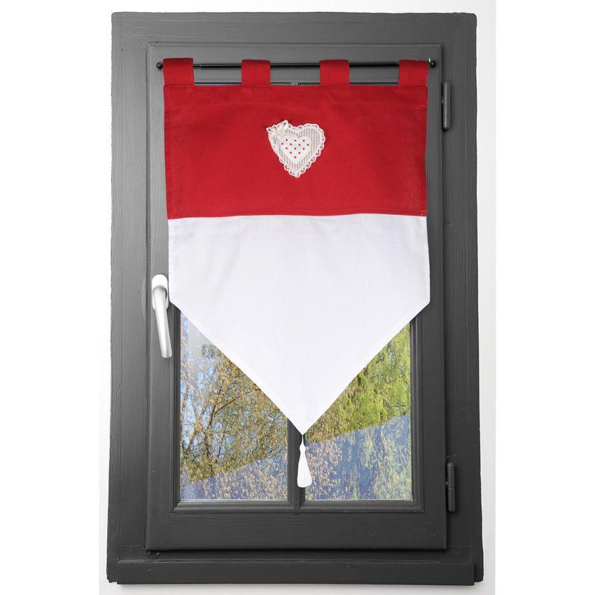 petit vitrage brise bise avec c ur dentel rouge homemaison vente en ligne voilages brise bise. Black Bedroom Furniture Sets. Home Design Ideas