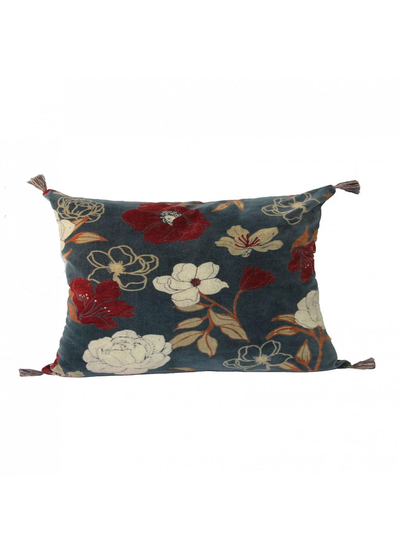 Coussin en velours motif fleuri (Crépuscule)