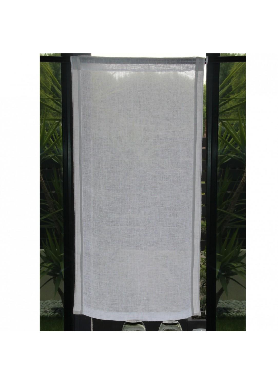Voilage droit en 100% lin avec surjet côtés (Blanc)