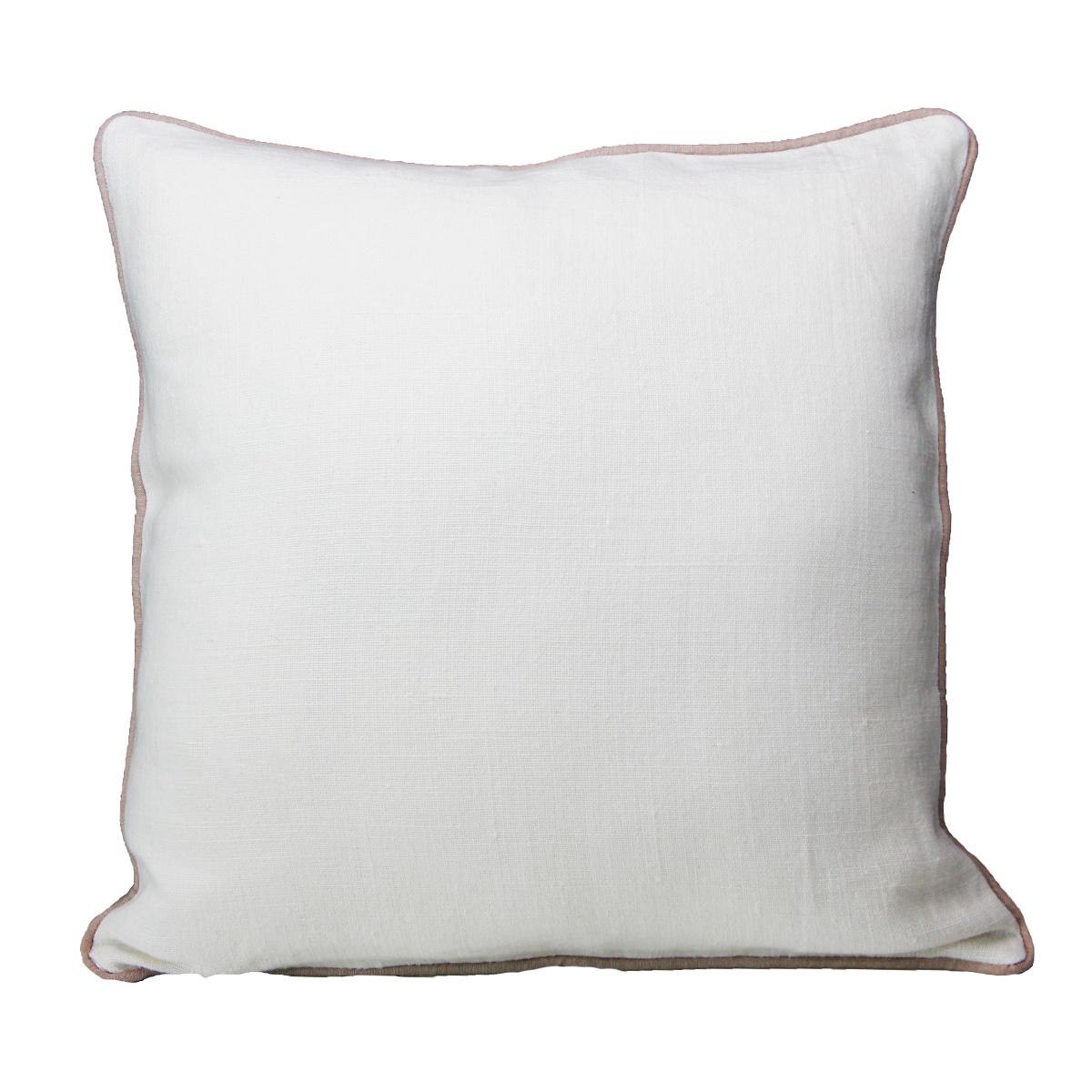 Coussin uni bi-matières Lin et Coton (Blanc)