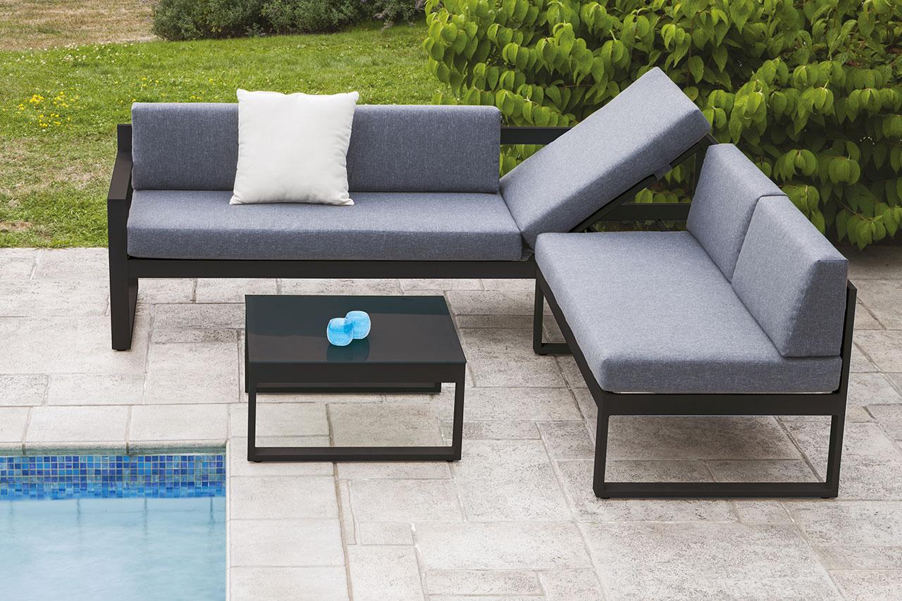 Salon de jardin avec fonction lit anthracite for Vente en ligne jardin