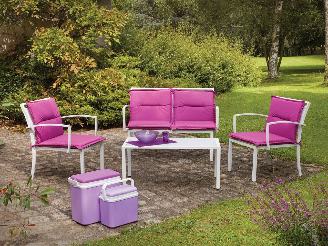 salon de jardin avec coussins fuchsia bleu. Black Bedroom Furniture Sets. Home Design Ideas