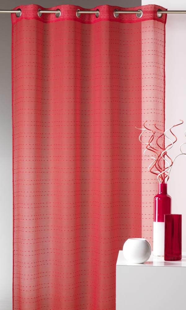 Voilage en Étamine fantaisie Doupion - Rouge - 140 x 240 cm