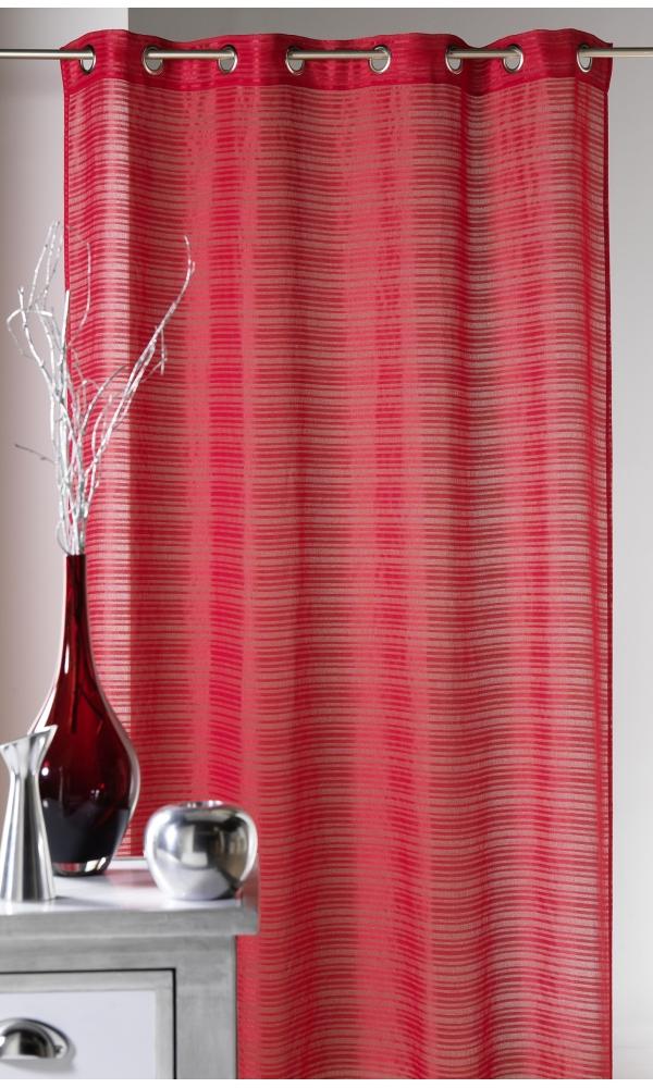 Voilage fantaisie à rayures horizontales Joyeux - Piment - 140 x 240 cm