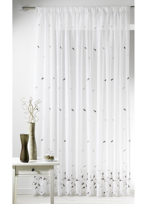 voilage en etamine avec broderies feuilles lin mandarine homemaison vente en ligne. Black Bedroom Furniture Sets. Home Design Ideas