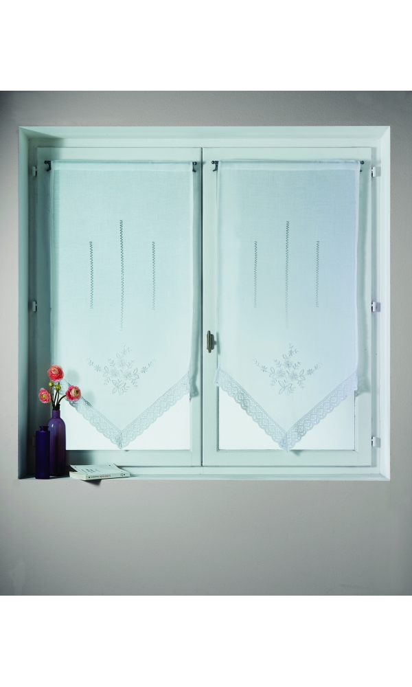 Voilage paire en étamine avec pointe brodé et fleurs - Blanc - 60 x 90cm