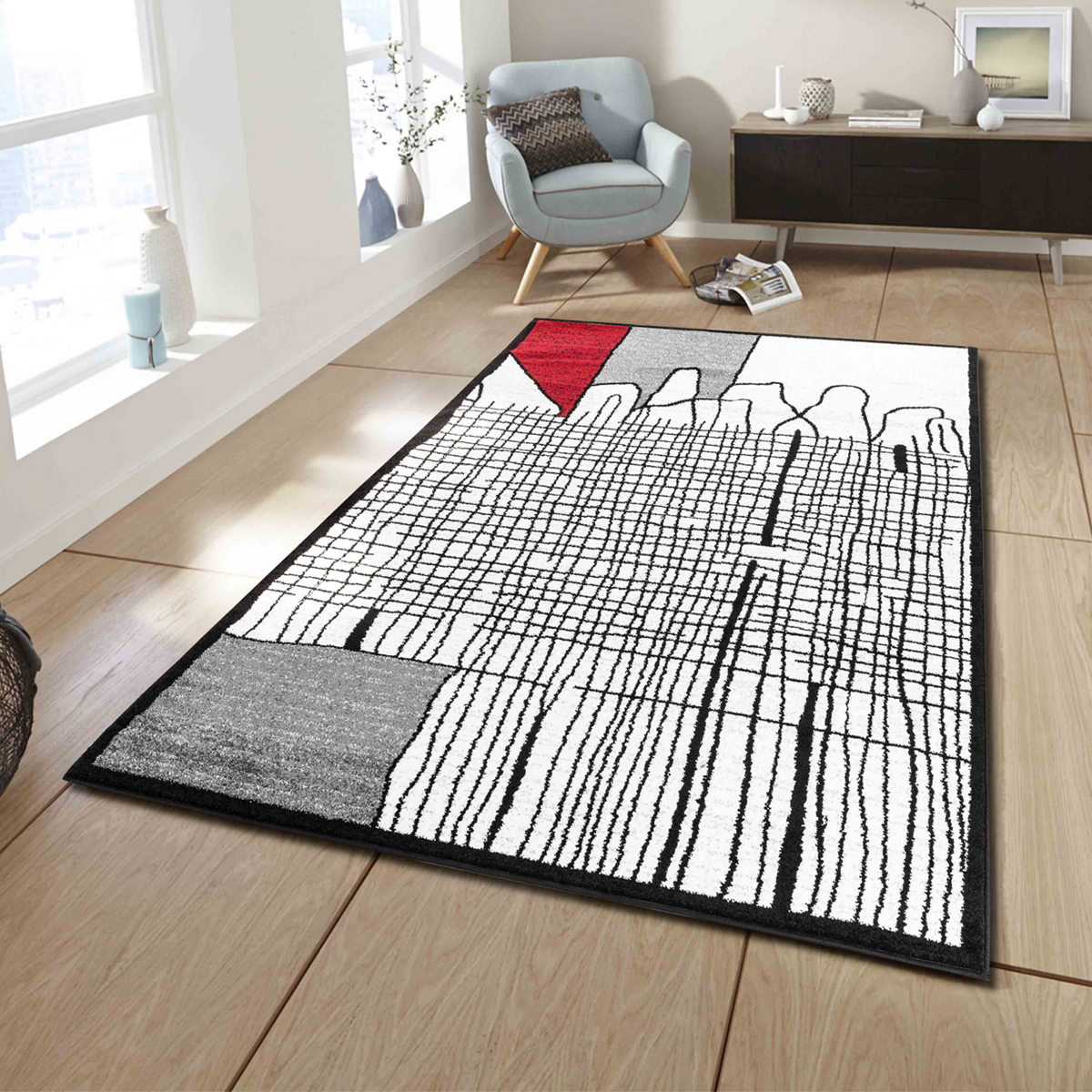 Tapis déco aux graphismes design - Rouge - 200 x 280 cm