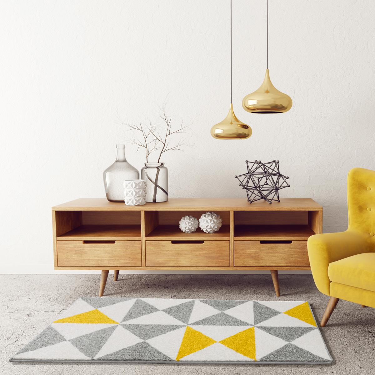 Tapis à triangles tricolores - Jaune - 200 x 280 cm