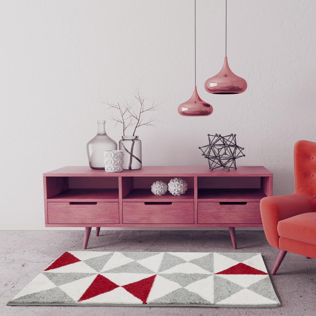 Tapis à triangles tricolores - Rouge - 200 x 280 cm