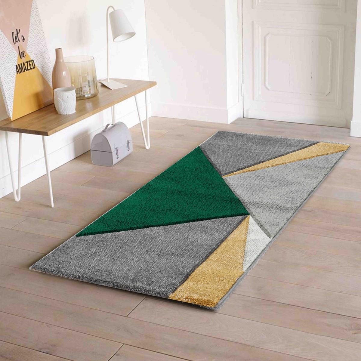 Tapis aux triangles colorés (Vert)