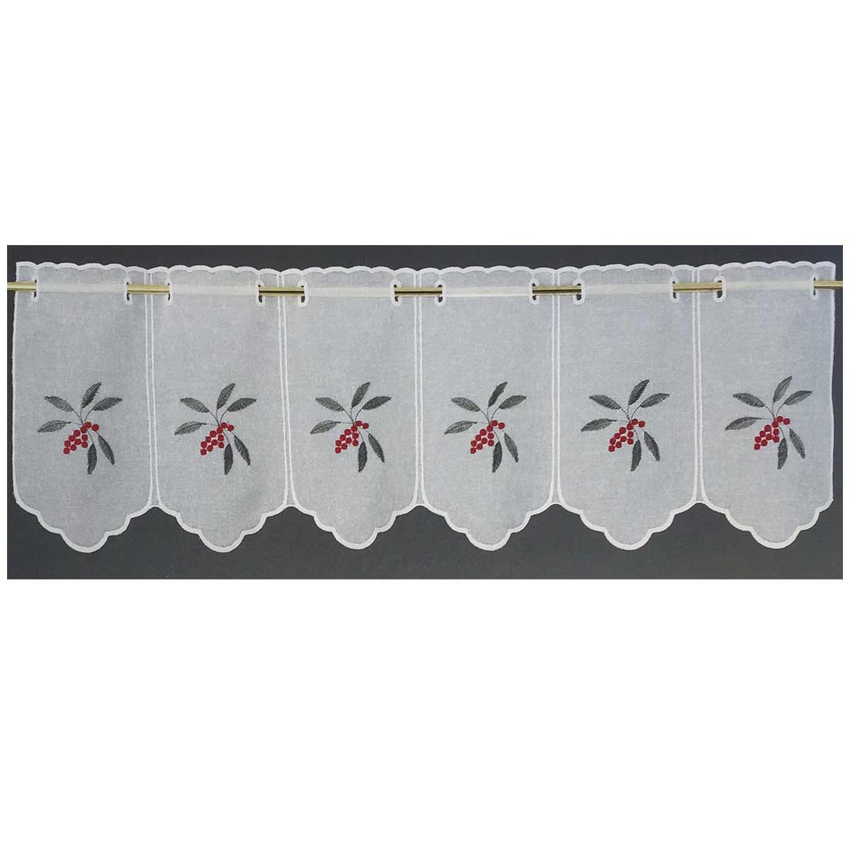 Brise bise modulable en étamine brodée de fruits colorés (Rouge)