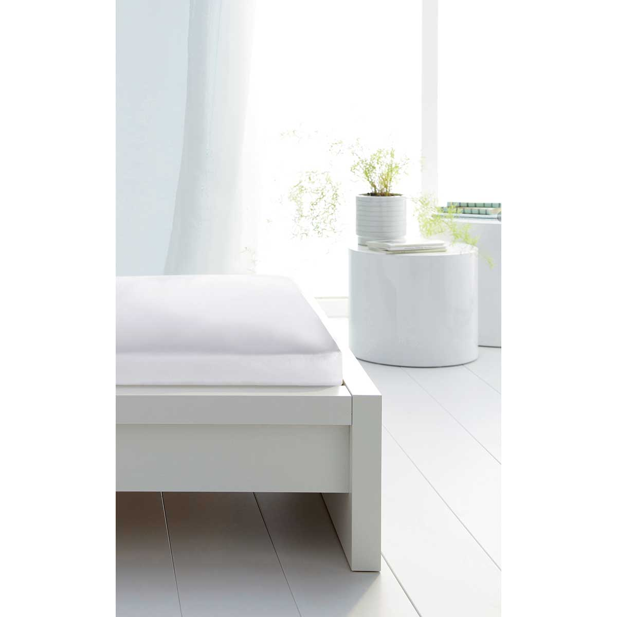 Protection de lit en molleton (Blanc)