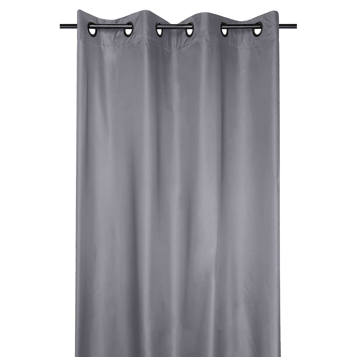 Rideau occultant et thermique en tissu enduit - Gris - 140 x 260 cm