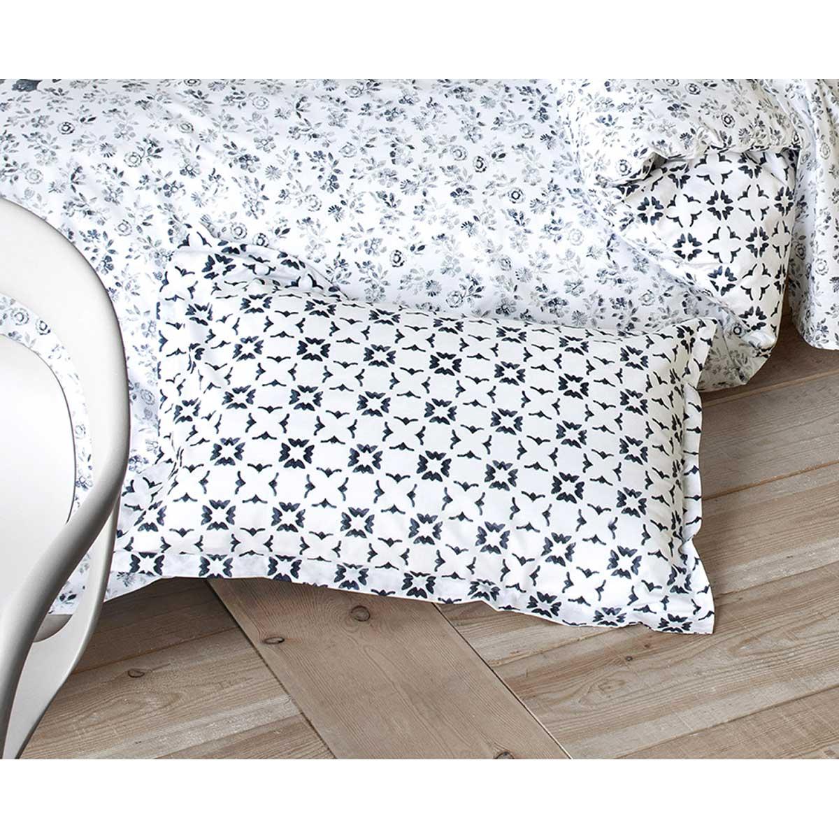 Taie d'oreiller imprimée carreaux de ciment (Blanc Bleu)