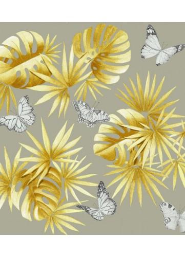 Tissu imprimé mélange de feuillages et papillons