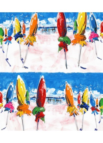 Tissu imprimé parasols colorés