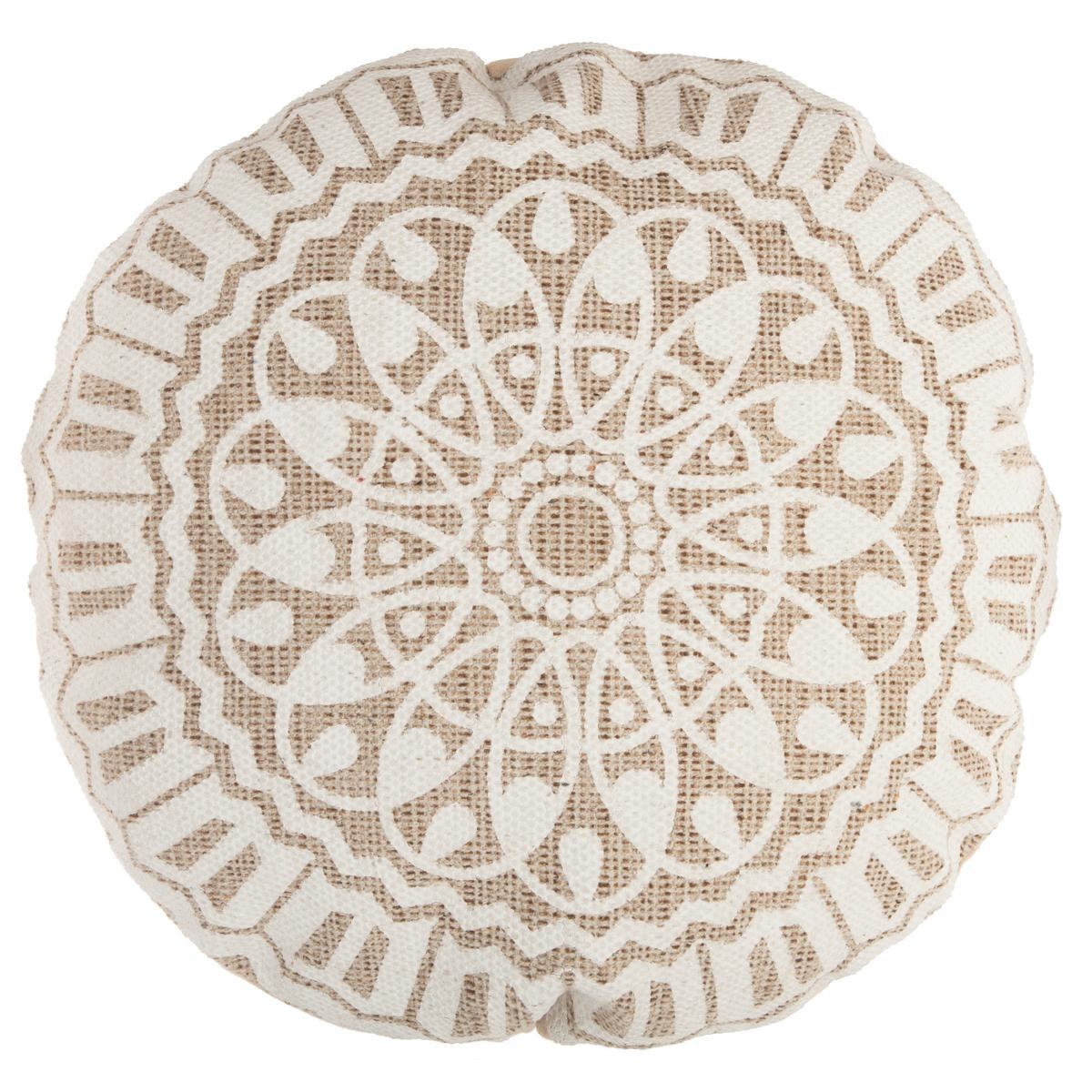 Coussin de Sol Rond Esprit Ethnique - Naturel - Diamètre 50 cm