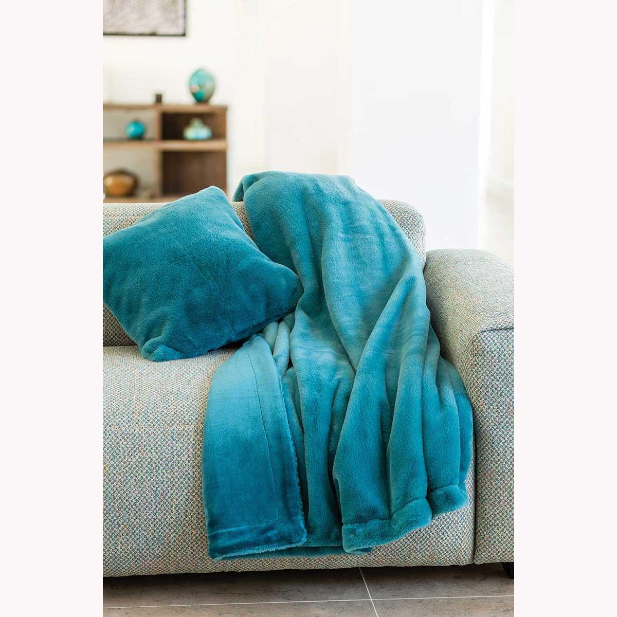 Plaid Double Face Fourrure et Polaire (Bleu Paon)