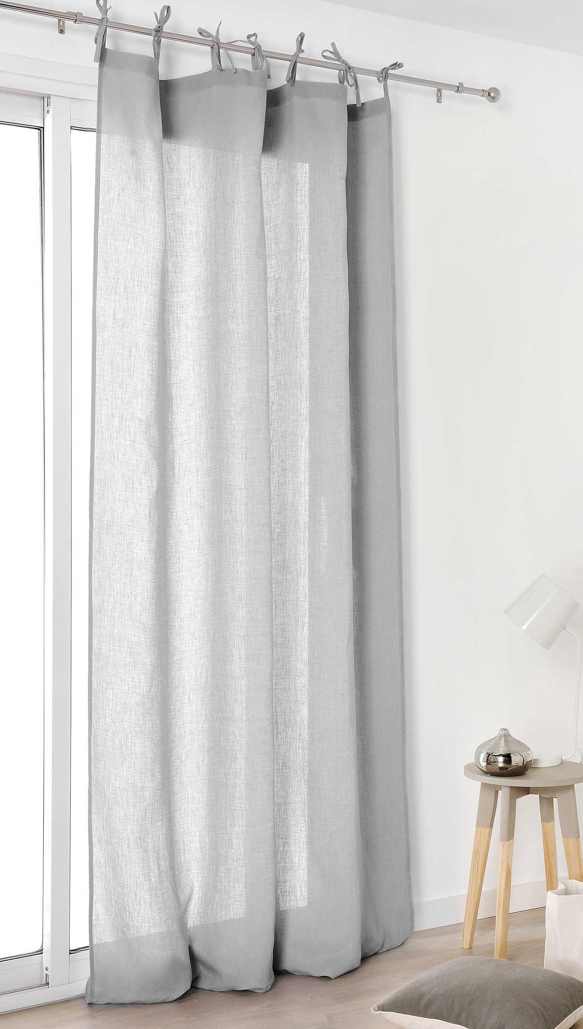 Voilage nouettes en 100 lin gris blanc ivoire beige vert rose homemaison for Voilage en lin