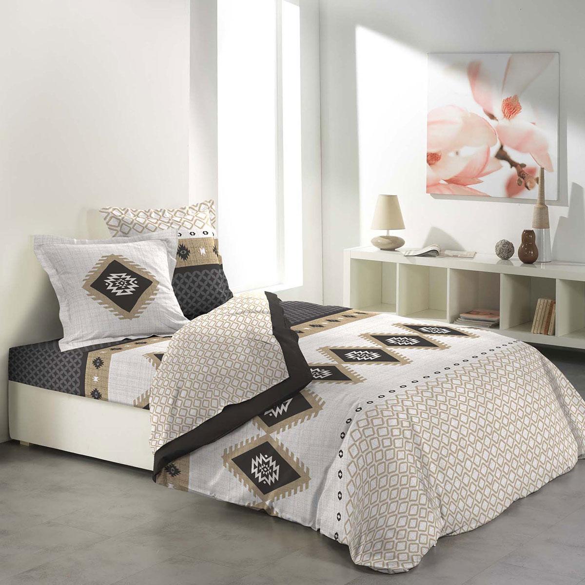parure de draps ethnique et g om trique multicolore homemaison vente en ligne housses. Black Bedroom Furniture Sets. Home Design Ideas