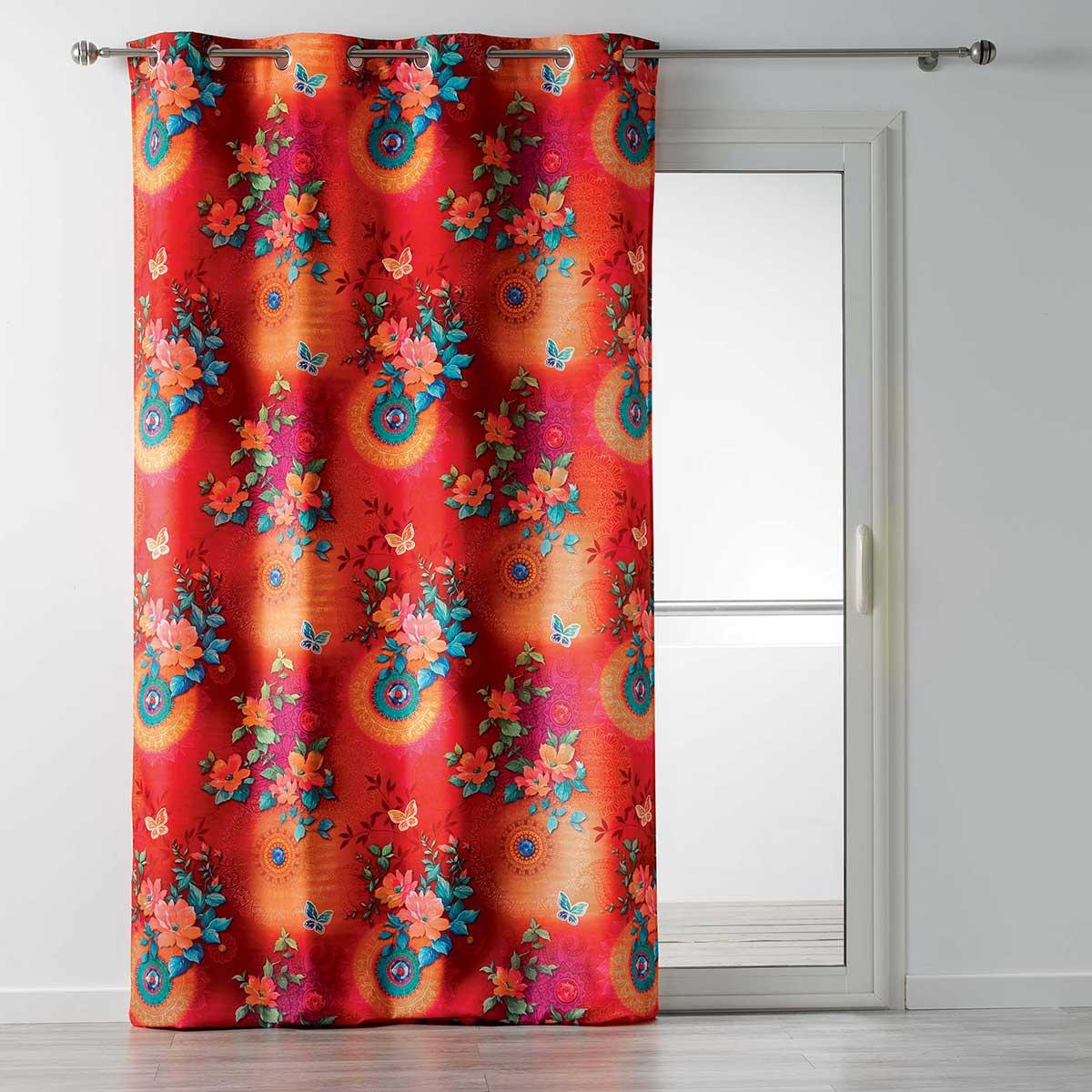 Rideau Tamisant Ambiance Japonisante - Multicolore - 140 x 260 cm