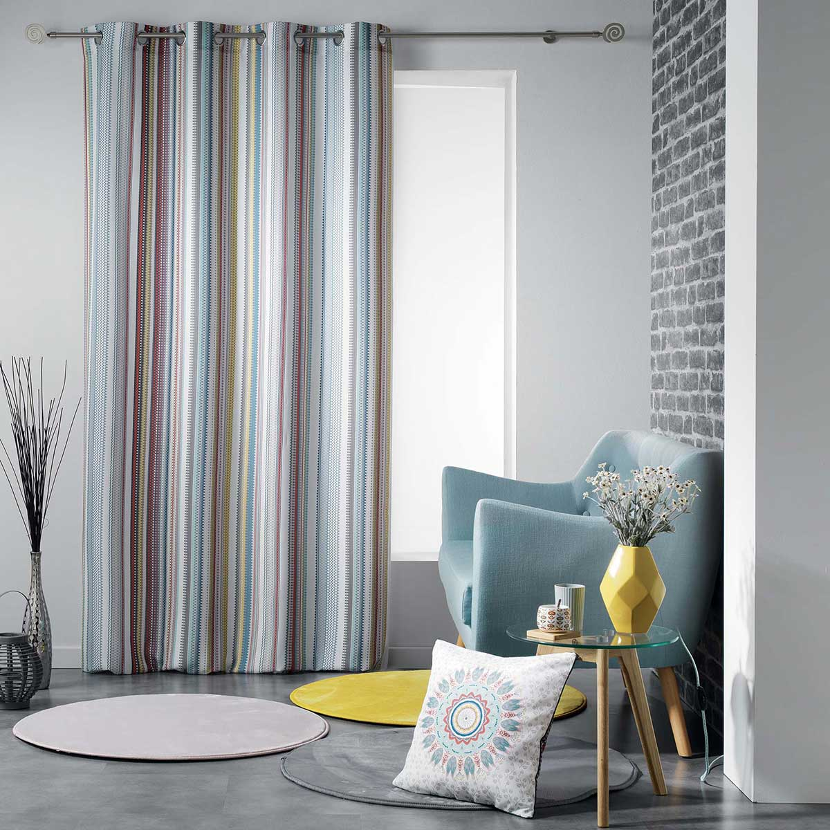 Rideau tamisant à l'esprit hispanisant - Multicolore - 140 x 260 cm
