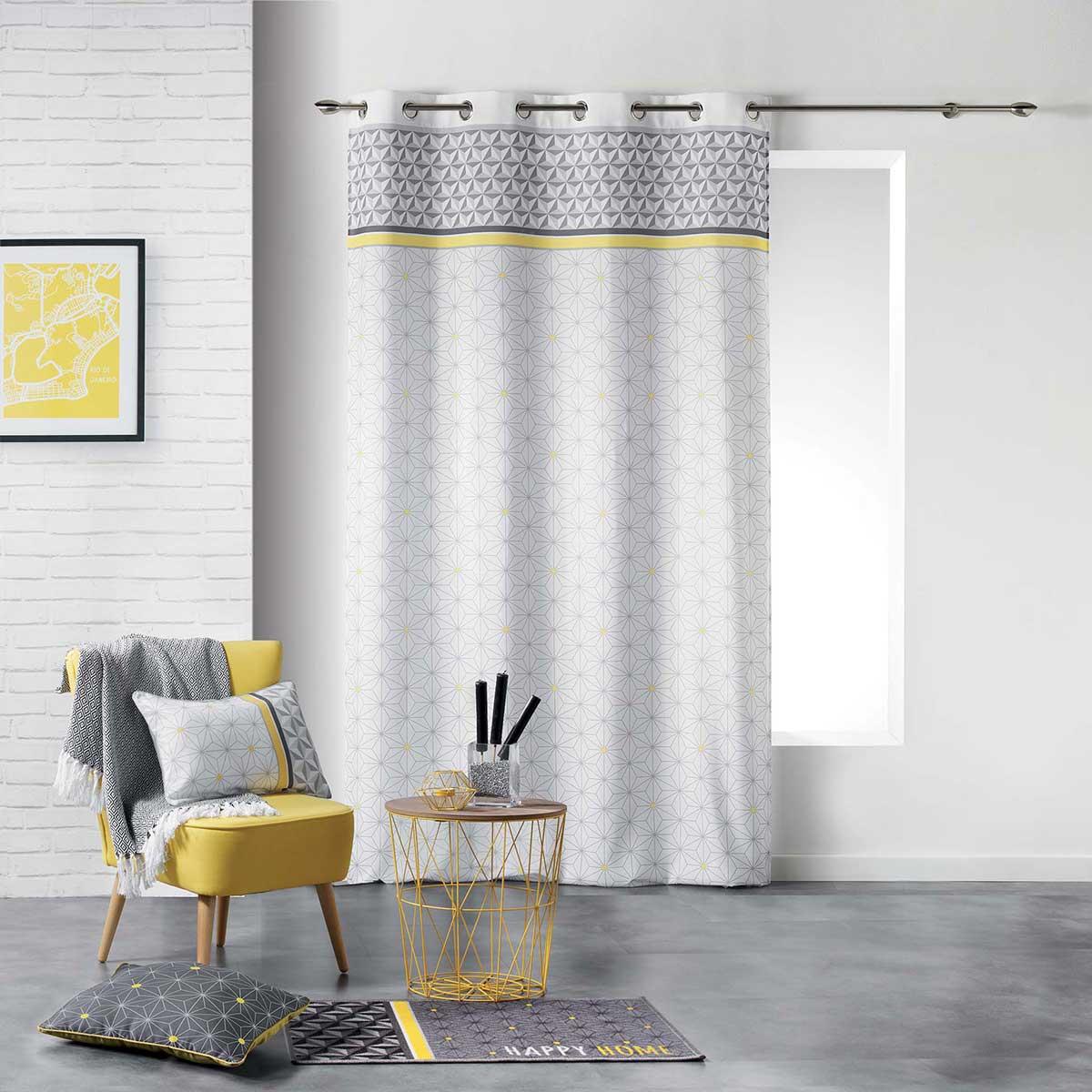 rideau tamisant inspiration scandinave jaune menthe. Black Bedroom Furniture Sets. Home Design Ideas