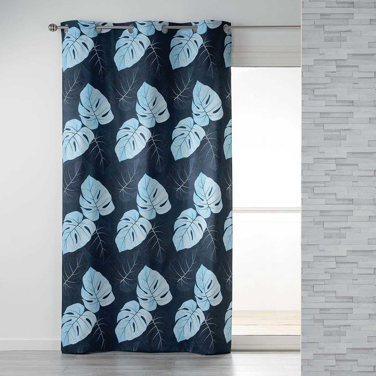 Cortina de algodón estampado hojas tropicales (Azul)