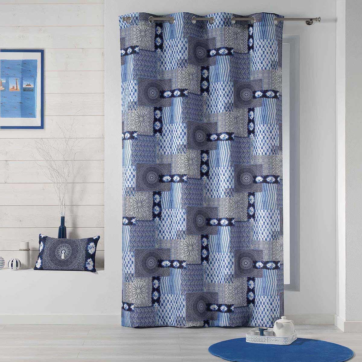 Rideau tamisant patchwork bleu (Bleu)