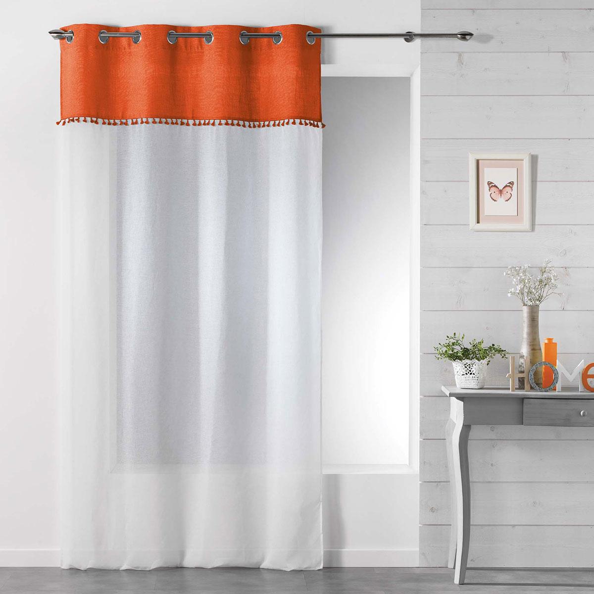 Voilage sablé à galon frangé - Orange - 140 x 240 cm