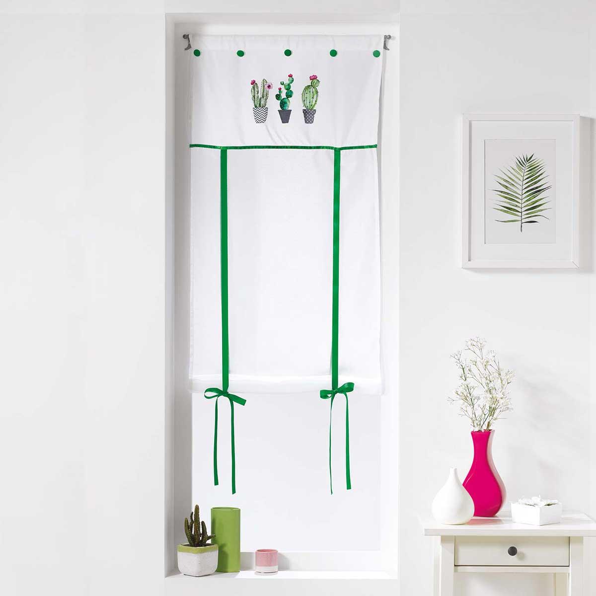 Store droit relevable imprimé cactus - Blanc - 60 x 150 cm