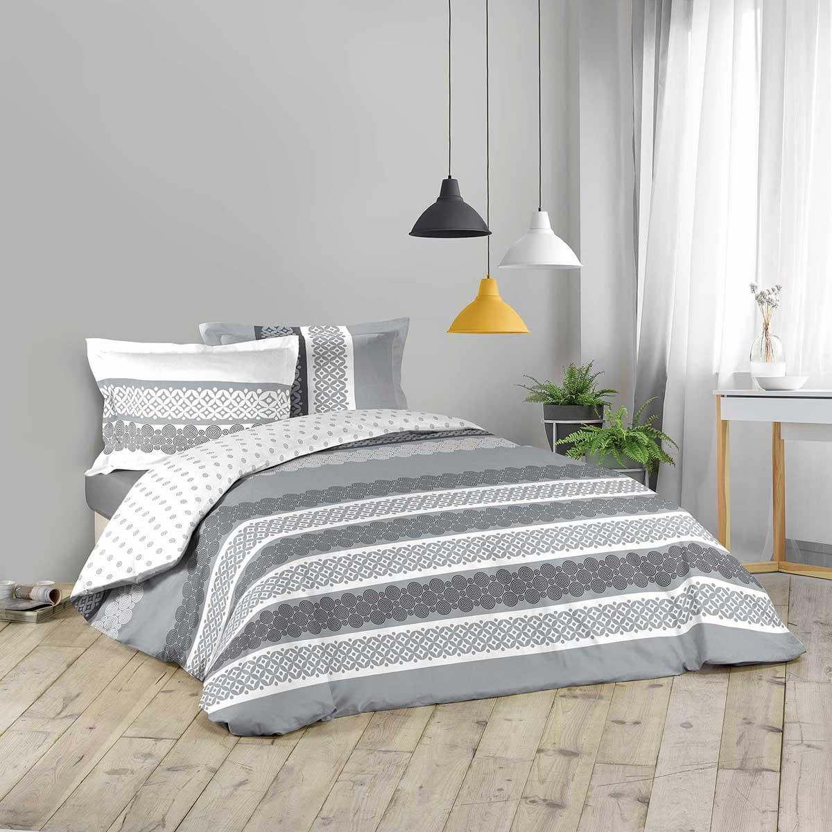 Parure de couette à motifs géométriques blancs et gris - GRIS / BLANC - 240 x 220 cm + 2T