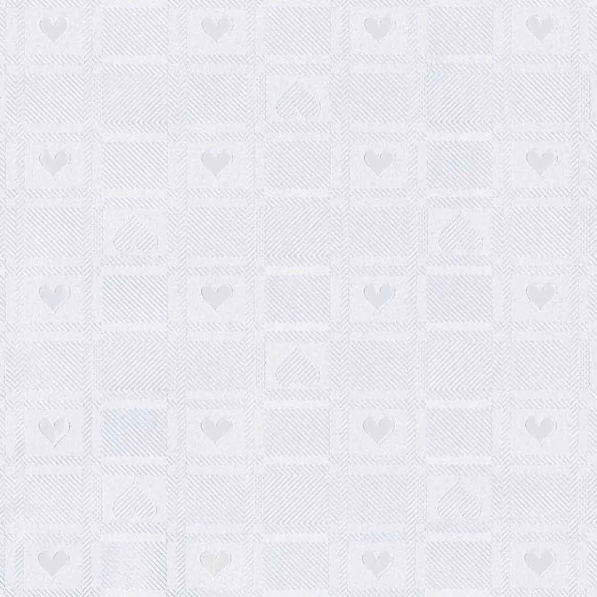 Toile Cirée Damassée à Coeurs - Blanc - 1.4 m