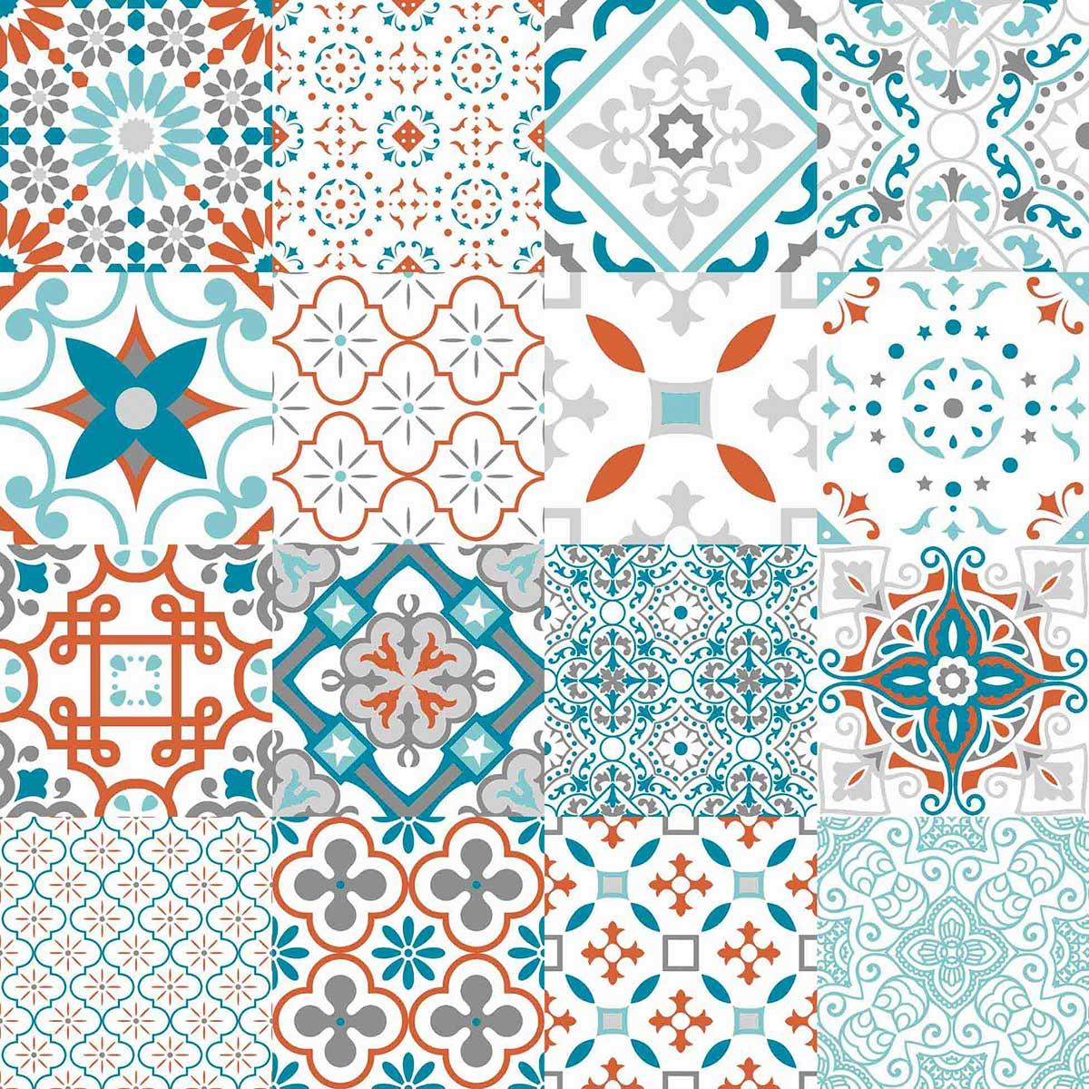 Toile Cirée imprimée patchwork géométrique - Rouge - 1.4 m