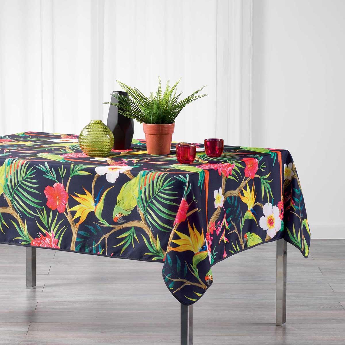 Nappe rectangulaire impressions tropicales - Prune - 150 x 240 cm