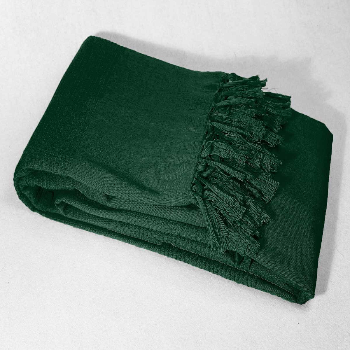 Jeté de canapé ou fauteuil à franges - Vert - 180 x 220 cm