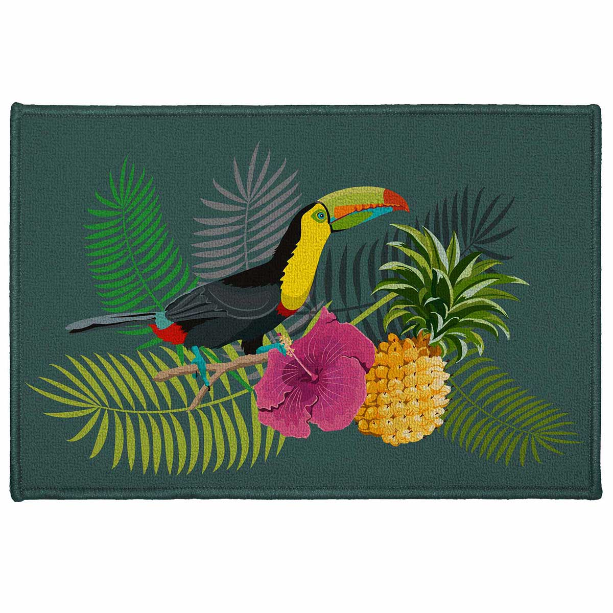 Tapis décoratif rectangulaire toucan - Multicolore - 40 x 60 cm