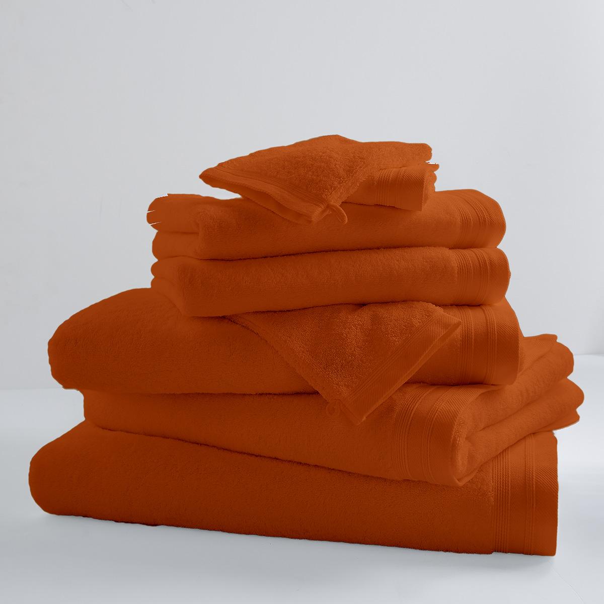 Lot de 2 Serviettes De Toilette Unies et Colorées (papaye)