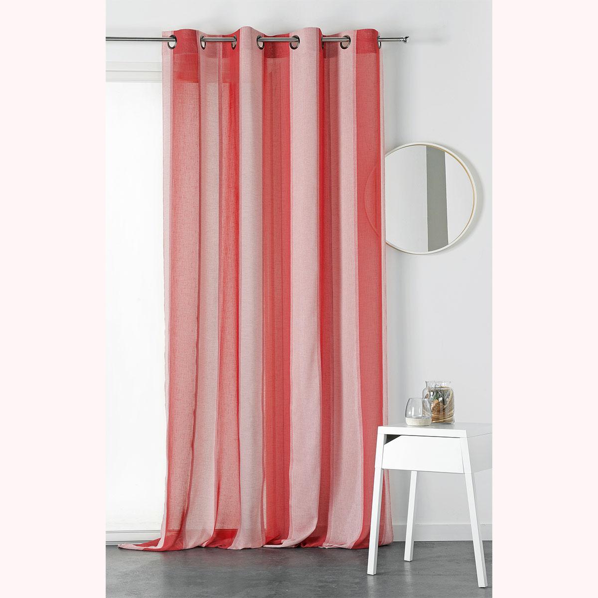 Voilage à rayures bicolores - Rouge - 150 x 270 cm