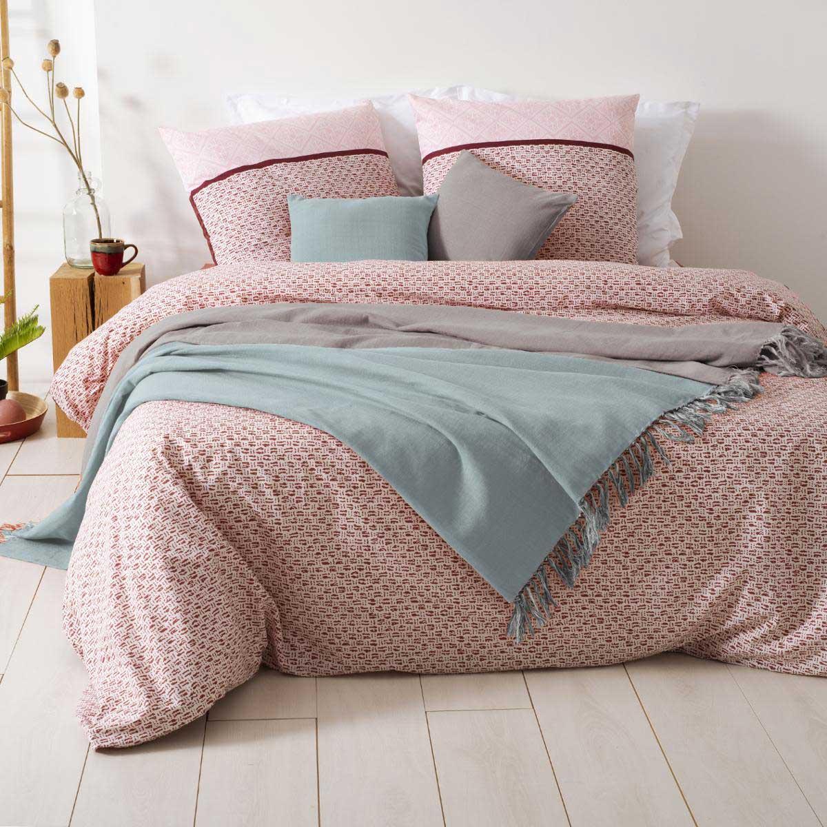 Jeté de lit réversible à franges (GRIS / BLEU)