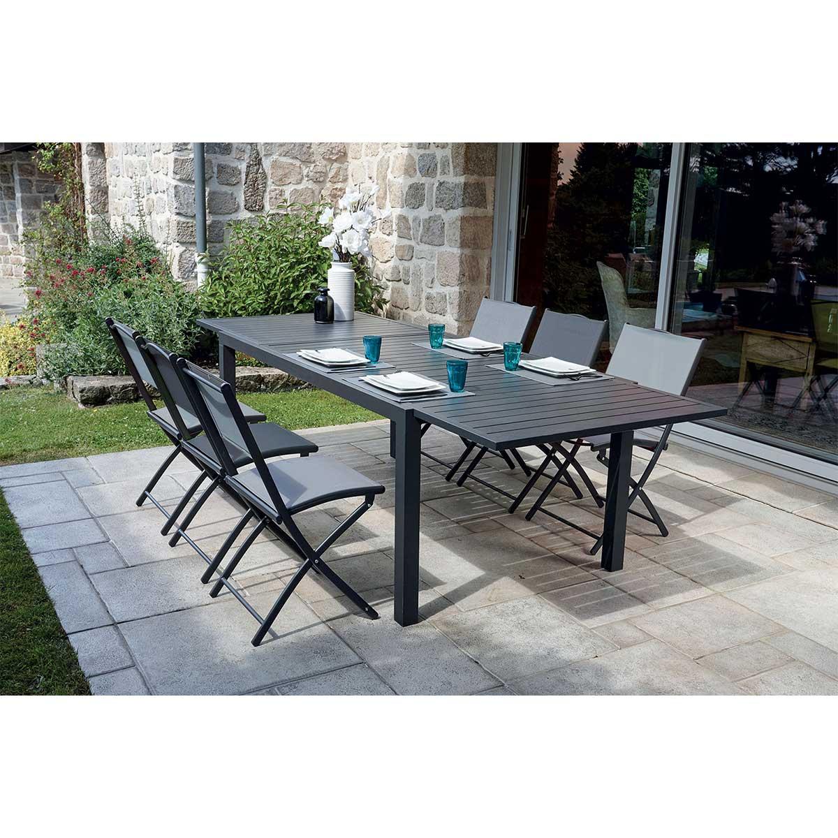 Ensemble de jardin avec table à rallonge et chaises pliantes - Anthracite - 180/270 cm x 100 x 75 cm